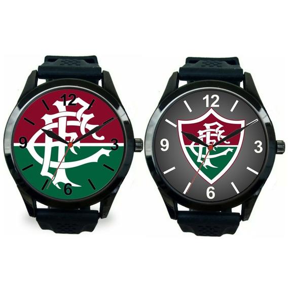 Kit 2 Relógios Pulso Fluminense Barato Esportivo Masculino