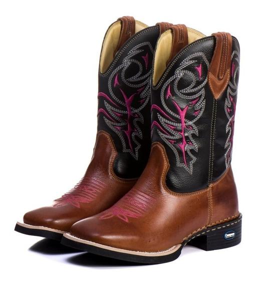 Bota Country Feminina Bico Quadrado Cowgirl Cano Longo