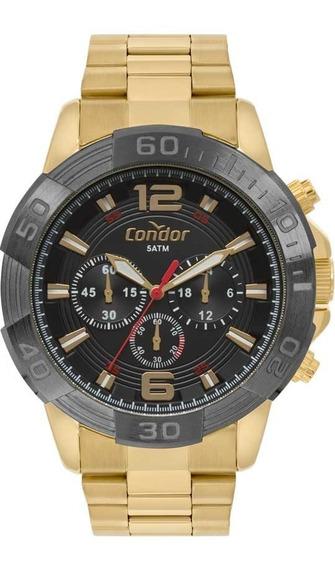 Relógio Condor Masculino Ref: Covd54ay/4p Cronógrafo Dourado