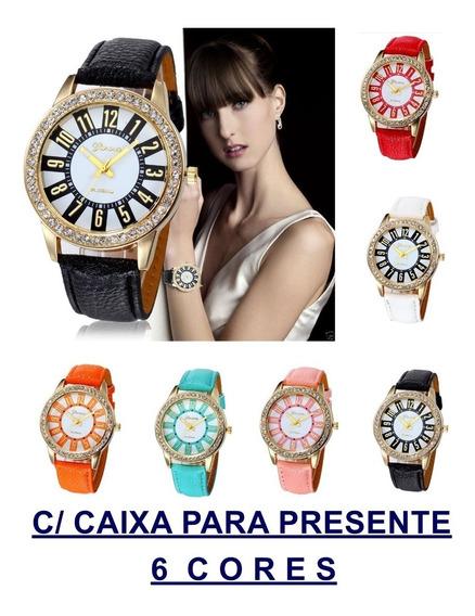 Relógio Feminino Barato Strass C/caixa Presente 6 Cores