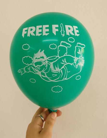 20 Globos Free Fire Impresos 12 Pulgadas, Aptos Aire O Helio