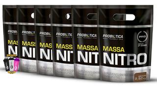 6x Hipercalórico Massa Nitro 2,52kg Refil + Coq Probiotica