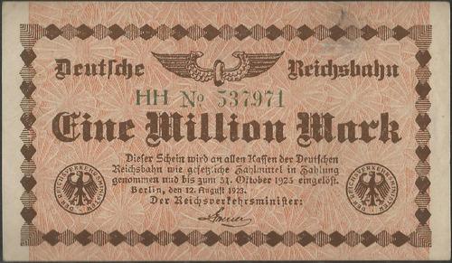 Alemania Railroads Post Wwi 1000000 Mark 12 Ago 1923 Ps1011