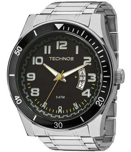 Relógio Technos Masculino Calendário Fundo Preto 2115ksl/1y