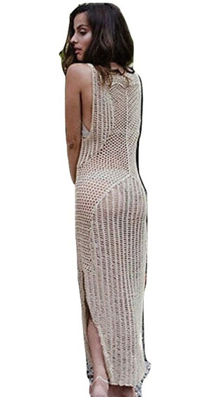 Salida De Playa Larga Mujer Vestido Blusa Crochet Pareo Cover Up Tejido Elegante Sexy