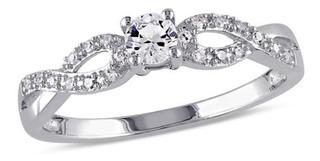 Anel Solitário Noivado Ouro Branco 18k/750 E Diamantes