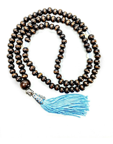 Imagem 1 de 6 de Japamala 108 Contas D Madeira  Pedra Opalina Buda Azul Claro