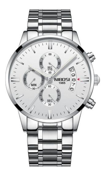 Relógio Masculino Original Nibosi Aço Inox Safira Promoção