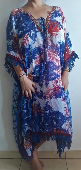 Poncho Colores Azul Con Caracoles Rosas Antica Sartoria