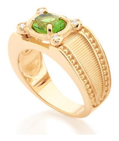 Anel Folheado A Ouro Rommanel De Formatura Com Zircônias E Cristal Oval 511753