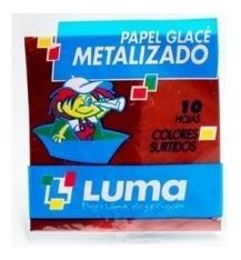 Papel Glace Metalizado X 10 Paquete X 10 Papelitos 10x10 Cm