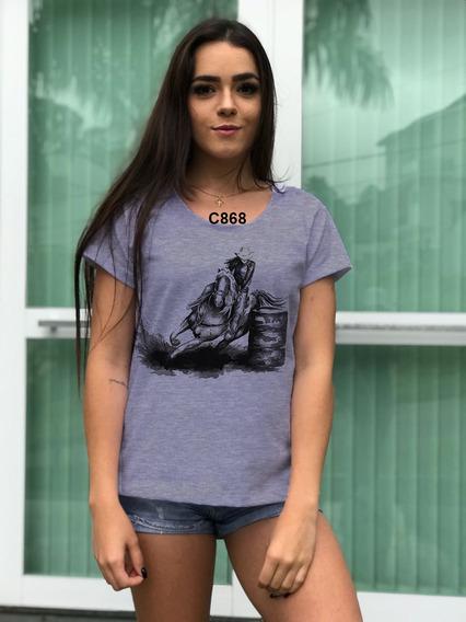 Blusa Feminina Cinza Personalização Body Look Cavalo Cowboy