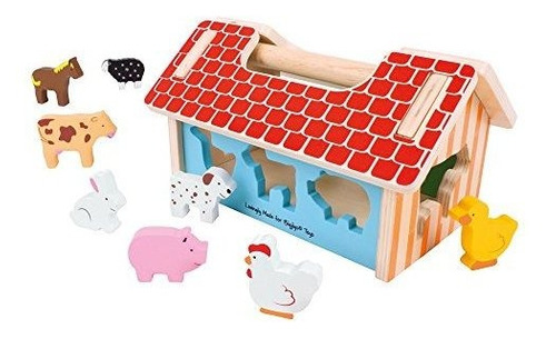Bigjigs Toys Farm House Shape Sorter  Juguete De Madera Clas