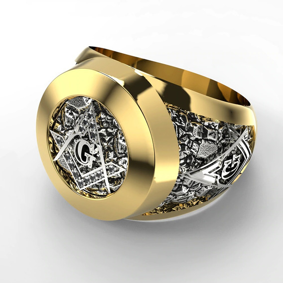 Anel Maçonaria Compasso Maçom Compasso G Preto Dourado Prata