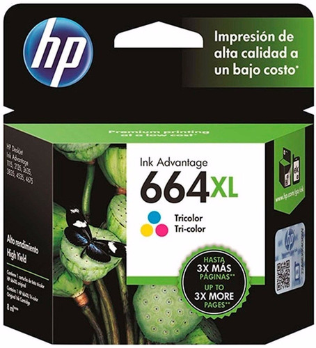 Imagen 1 de 6 de Cartucho Hp 664 Xl Color F6v30al Original
