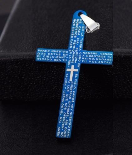 Colar Masculino Prata Genuína Com Crucifixo Azul Inox 15650