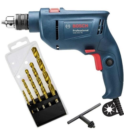 Furadeira De Impacto 450w 3/8 Gsb 450 Re Bosch + Kit Brocas