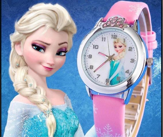 Kit 5 Relógios Frozen Elsa Rosa Strass + Frete