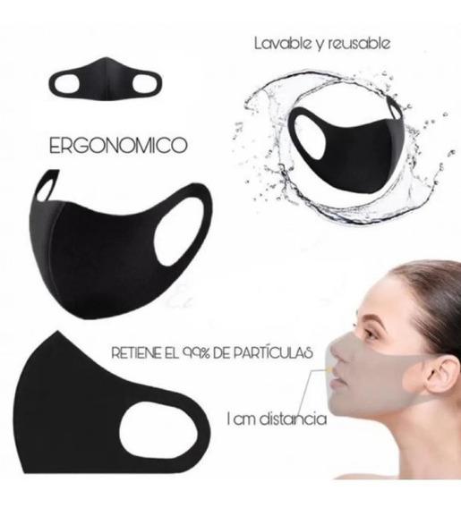 Cubrebocas Neopreno 3 Capas Tapabocas Reutilizable Lavable