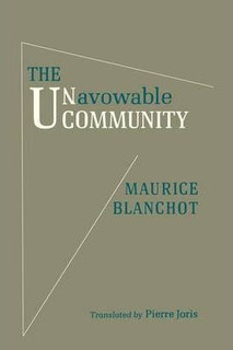 The Unavowable Community - Maurice Blanchot (paperback)