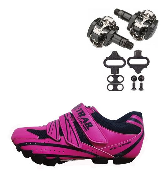 Combo Zapatilla Ciclismo Mujer + Pedales Shimano 505