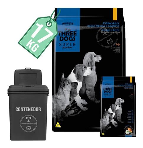 Alimento Three Dogs Cachorros Rza Med Y Gde 15 Kg + 2 Kg