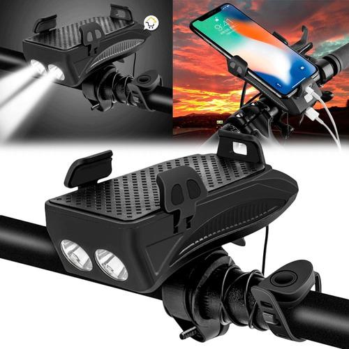 Luz Led Bicicleta Recargable 4 En 1 Soporte Celular Fy-319