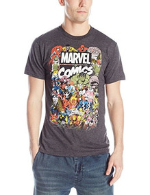 Marvel Comics Crew T-shirt Para Hombre, Charcoal Heather, Xx