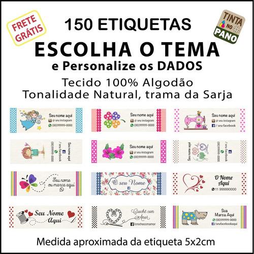 150 Etiquetas Algodão Desenho Pronto E Dados Personalizados.
