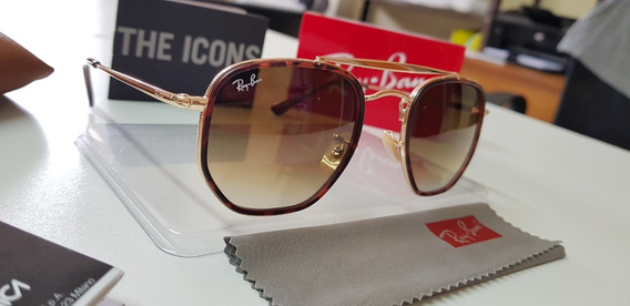 Óculos Sol Ray-ban Marshal Rb3648m Marrom Degradê Original