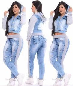 Kit Conjunto Calça Jeans Moletom + Jaqueta Jeans Feminina