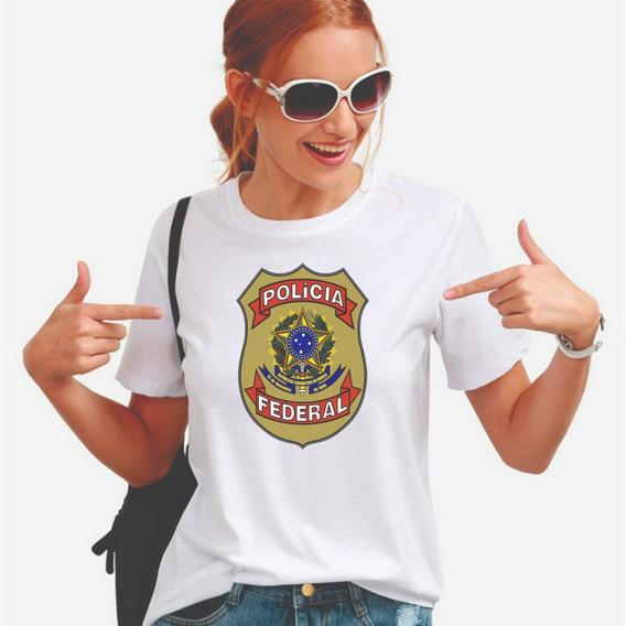 Polícia Federal Camiseta Feminina Pf Camisa Baby Look Blusa