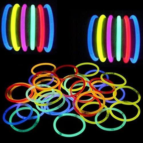 Pulseras Luminosa Fluor Neón Fluorescente 100 Unidades