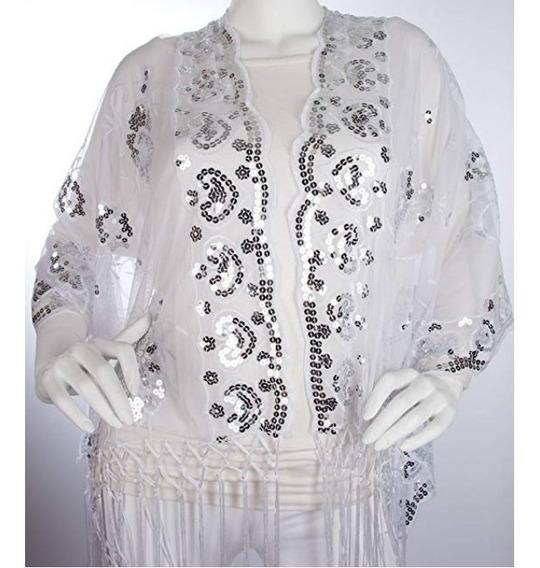 Pashmina Chal Elegante Blanco/plateado 1.75m Bohomonde