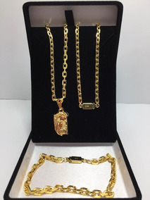 Conjunto Corrente Pulseira Cadeado + Pingente Banhado A Ouro