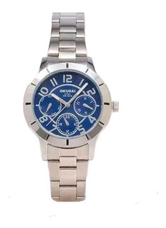Reloj Okusai Dama,estilo Deportivo,fondo Azul O Negro,100m.