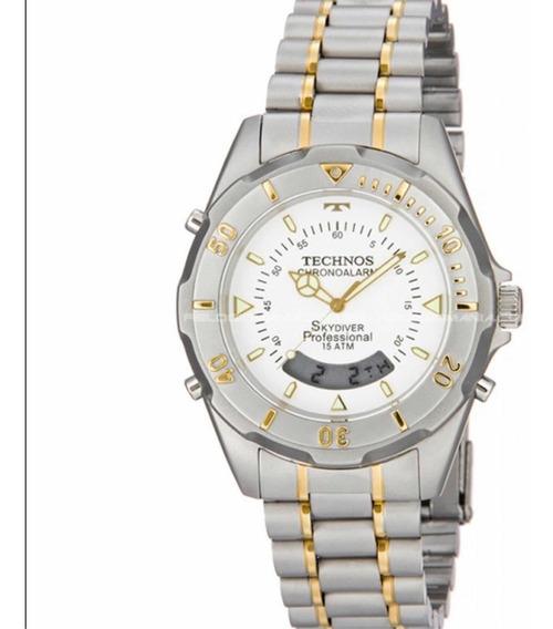 Relógio Technos Masculino Prata Com Dourado 20557/9b