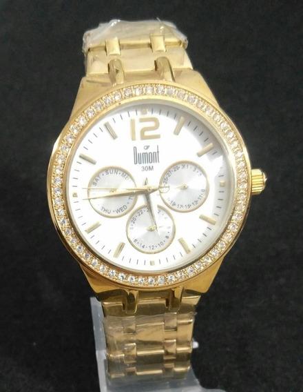 Relógio Feminino Dumont Sz85078b Analógico Multifunção Luxo