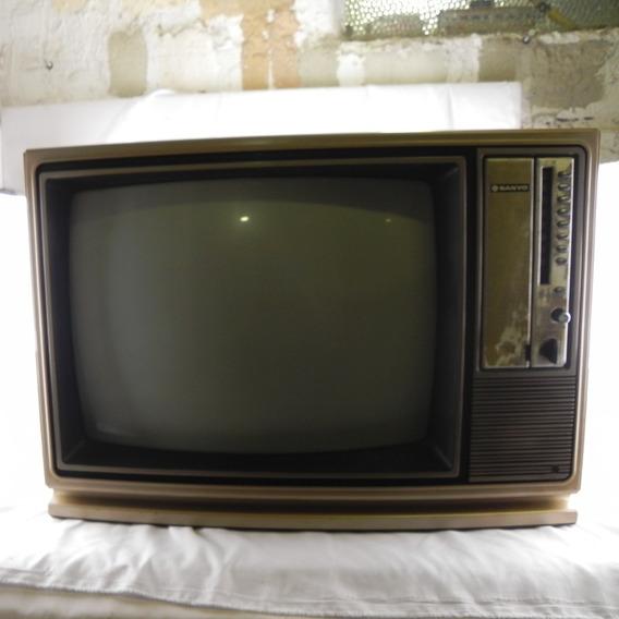 Tv Antiga Sanyo Bege C/ Madeira - C/ Defeito P/ Decoração