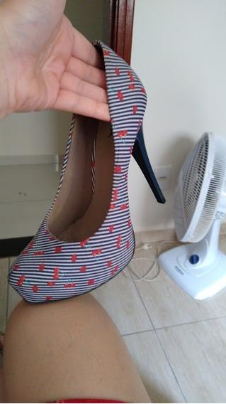 Sapato Plataforma Azul Florido - Tamanho 37 - Usada Uma Vez!