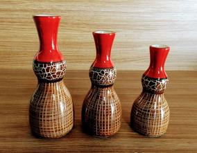 Conjunto Cerâmica Trio Garrafas + Canoa