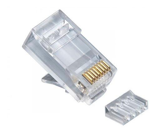 Plug Rj45 Cat 6 C/ Guia Marca Premium 100 Pzas 30u Oro E19-1