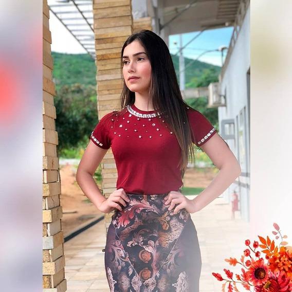 Blusa Feminina Marsala Bordado A Mão Moda Evangélica