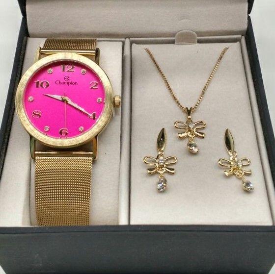 Relógio Champion Dourado Aço Rosa Pink Strass Cn29034j
