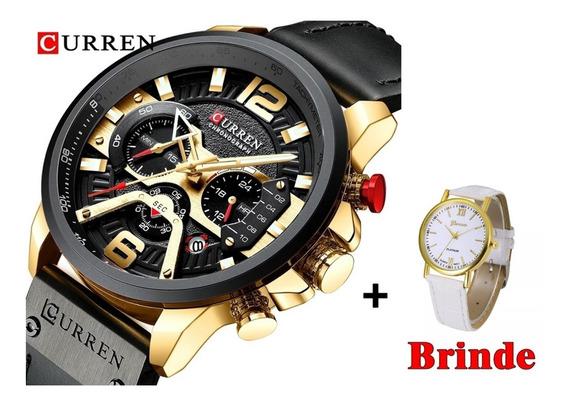 Relógio Curren 8329 Modelo De Luxo + Brinde Relógio Feminino