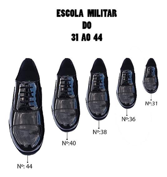 Sapato Social Bico Redondo Escola Militar 31 Ao 44
