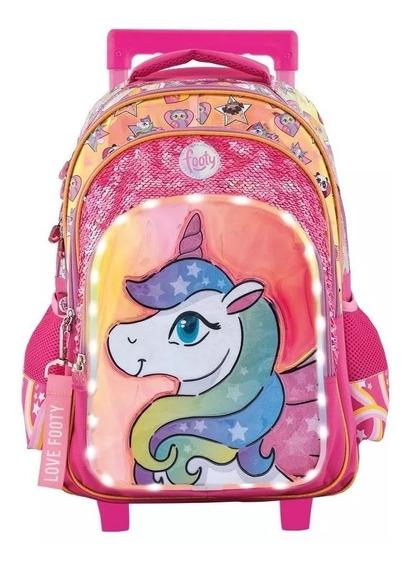 Mochila Footy Unicornio Carro Lentejuelas Luz Led Escolar