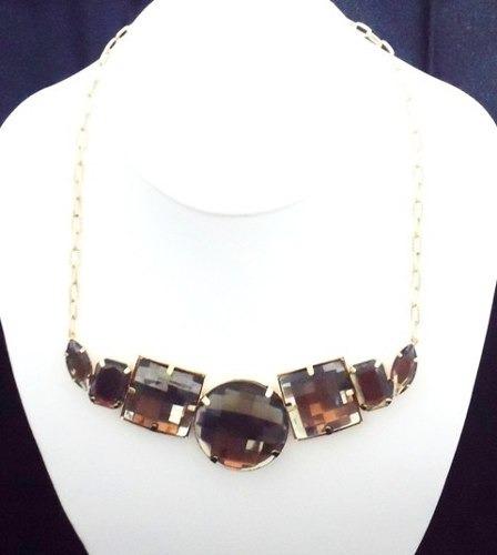 Lindo Maxi-colar, Folheado Em Ouro 18k, Com Pedra Sintética