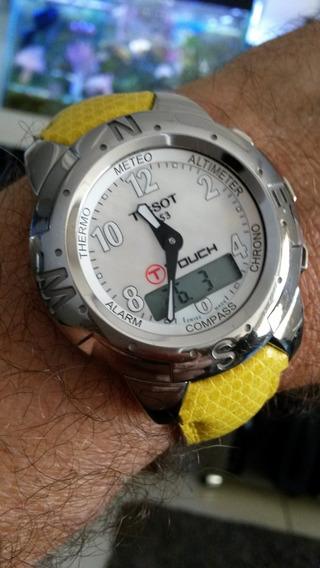 Relógio Tissot Touch Titânio Pulseira Original Couro.