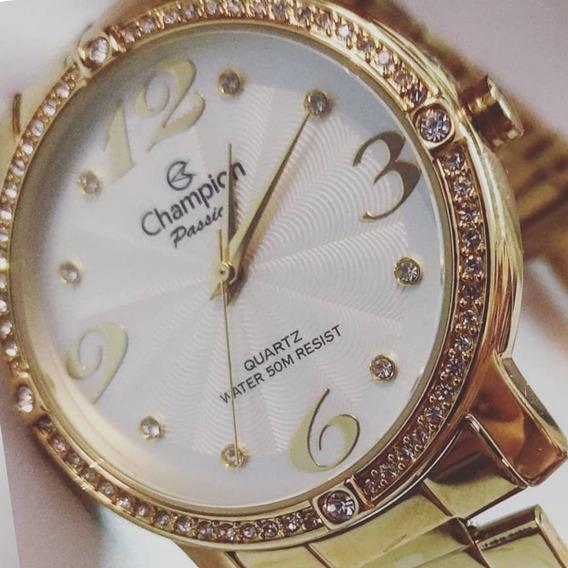 Relógio De Pulso Ch24768h Champion Dourado Analógico Original Com Garantia A Prova D